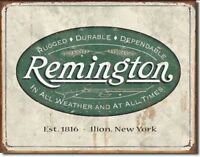 Remington REM Weathered Logo Rugged Metal Tin Sign Home Wall Decor Retro Vintage