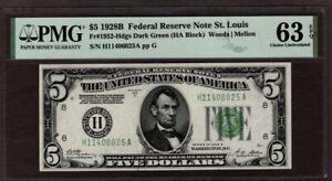 1928B $5 FRN St. Louis Note, PMG 63 EPQ, NICE!!