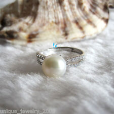 8.0-8.5mm White Freshwater Pearl Ring R9H US Size 6.75# Adjustable Size