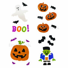 HALLOWEEN WINDOW GEL STICKERS * SET OF 4 * DECORATIONS SCARY SPOOKY PUMPKINS