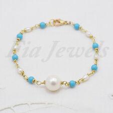 Bracciale rosario perle naturali e turchese Gioielli Artigianali Pietre