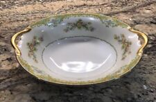 NORITAKE MORIMURA JAPAN FINE CHINA SERVING BOWL FLORAL BOUQUET GREEN YELLOW GOLD
