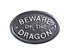 SILVER BEWARE OF THE DRAGON - HOUSE DOOR PLAQUE/ GARDEN WALL SIGN- BLACK - NEW