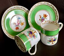 "Pair of English 1930s Art Deco ""Foley"" Fine Bone China Demitasse Cups & Saucers"