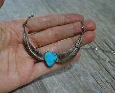 Vintage Navajo Native American Sterling Silver Heart Turquoise Necklace