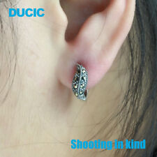DUCIC Retro Vintage Women 925 Sterling Silver Hoop Leaf Earring Inlay Marcasite