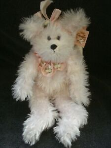 Vintage Bearington Collection Ivory Charity Angel Plush Bear Pink Ribbon Jointed