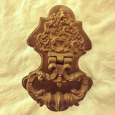 """Vintage Door Knocker Gold Color with Patina 9"""" top to bottom x 6"""" wide 2+ Lbs"""