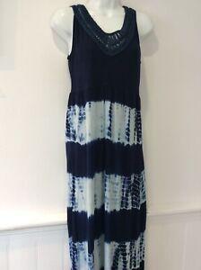 Fat Face long blue dye maxi sleeveless dress size 14