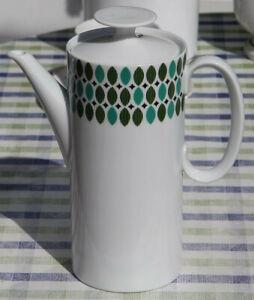 Kaffeekanne-Thomas Porzellan-MEDAILLON-GRÜNE-BLÄTTER-Design v. Hans-Theo-Baumann