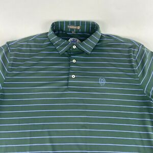 Peter Millar E4 Summer Comfort Green & Blue Striped Polo Size Large
