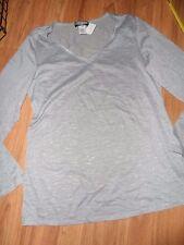 gray grey color sheer burnout top t-shirt long sleeve ~ large
