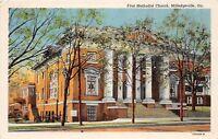 D92/ Milledgeville Georgia Ga Postcard 1953 Linen First Methodist Church