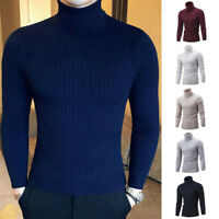Men Winter Knit High Neck Turtleneck Slim Fit Solid Pullover Jumper Sweater Top