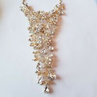 Large Multi Crystals Necklace Gold Tone Statement Rare Runway Floral Estate