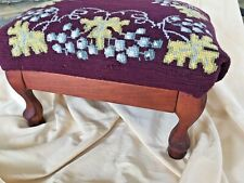 """Antique Foot Stool Floral Leaf & Grapes Needlepoint Wood Curve Legs 9"""" Tall"""