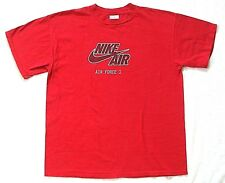 💯VTG 90s Nike AIR FORCE 1 gray tag 50/50 cotton acrylic blend red T-shirt sz XL
