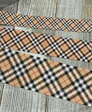Printed Grosgrain Ribbon 4 Widths in 1/3/5 Yards Classic Soft Black & Tan Plaid