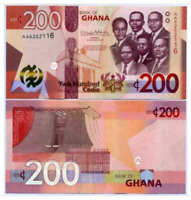 GHANA: Banknote  200 Cedis  Issue 2019 P-New 3D Security Tab Unc