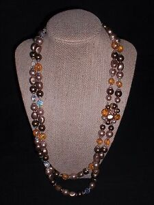 Vtg JAPAN Aurora Borealis Amber Brown Cluster Clasp 2-Strand Beaded Necklace