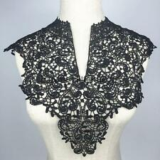 Elegant Crochet Lace Embroidery Floral Neckline Collar Sewing Applique Black