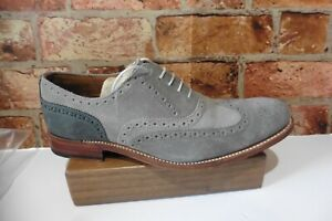 GRENSON LONDON GREY MIX SUEDE BROGUES MENS SHOES SIZE UK 9.5 F FITTING
