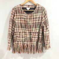Ett:Twa | Womens M Anthropologie Tweed Fringed Academy Jacket Blazer