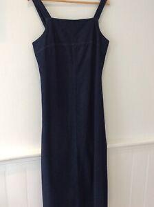 Next long maxi denim pinafore dress sleeveless size uk 14