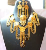 22K Gold Plated Indian Wedding Stunning Necklace Earrings 9'' Bridal Set tikka b