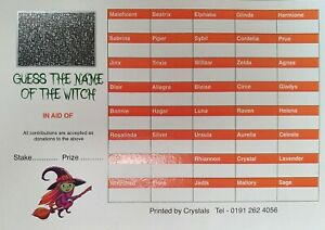 10 x 40 Name The Witch Halloween Themed Scratch Cards A6  FUNDRAISING IDEAS