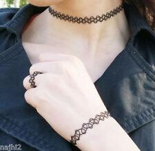 Tattoo 3er Set Halskette Armband Ring Choker Gothic schwarz Retro elastisch Dark