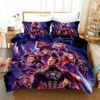 Marvel Avengers iron Man Spiderman Deadpool Duvet Cover Pillowcase Bedding Set