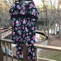 Vintage Vanity Fair 2 Pc Pajama Set Top Bottoms Black Floral Pink Roses Medium M