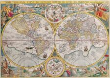 1700s World Map Zodiac Antique Vintage Reproduction Parchment Poster Print 13x19