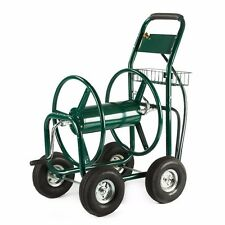 Green Water Hose Reel Cart 300 FT Outdoor Garden Heavy Duty Yard w/ Basket