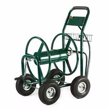 Green Water Hose Reel Cart 300 FT Outdoor Garden Heavy Duty Yard w/ Basket