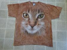Cat Face Huge Print T-Shirt Mens Lg Calico Cute Brown/Orange The Mountain Brand