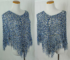 Hand Crochet Soft Material Blue Colored Shawl!! One Size