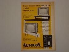 advertising Pubblicità 1958 TELEVISORE AUTOVOX TM 810