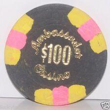 Ambassador Hotel $100.00 Hat & Cane Casino Chip Las Vegas Nevada 1978