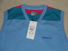 NWT Mens Adidas Golf FP Fashion Performance V Neck Sweater Vest Blue Pink M