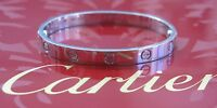 Cartier 18Kt Love Bracelet White Gold Size 17 EG4365