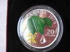 2010 Mapple leaf crystal raindrop Proof  1OZ SILVER COIN