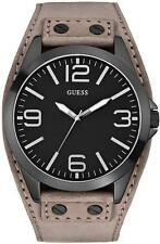 NEW GUESS BLACK TONE,TAUPE,GRAY SUEDE BAND,BLACK DIAL CUFF WATCH-U0181G3