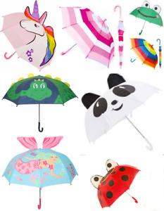 New Drizzles Kids Children's Rain Cover 3D Dome Animal Umbrella Crook Handle