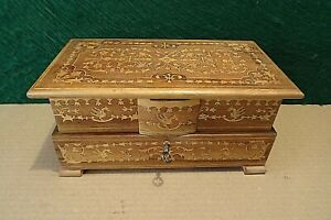 LOVELY MARQUETRY WOODEN  MUSICAL JEWELLERY BOX WITH KEY AND MIRROR, WORKING.