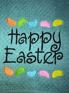Embroidered Teal 100% Cotton Kitchen Hand Towel Happy Easter  Jelly Beans BS1972