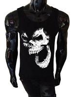 Skull Tank Top SCREENPRINTED Mens Vest Rock Punk Horror demon Gothic Vampire