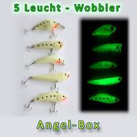 WOBBLER SET 5 Leucht Kunstköder zum Nachtangeln Raubfisch Hecht Zander Angel-Box