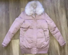 ladies size S (8-10) river island pink faux fur collar coat jacket parka puffer.